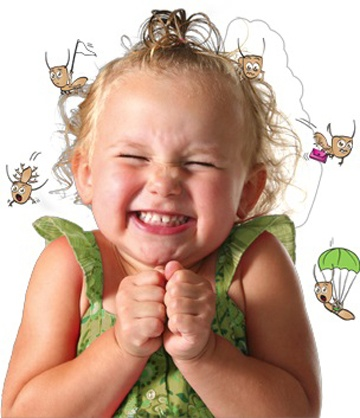 A happy child that had her head lice recently removed in Long Island NY